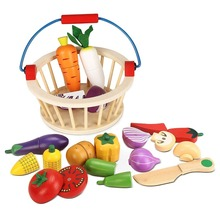 купить Mother Garden Wooden Basket Kitchen Toys Cutting Fruit Vegetable Play Miniature Food Kid Baby Early Education Role Play Toy дешево