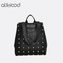 Rivet Black Canvas Women Bag Fashion Punk Student Handbags Large Capacity Top-Handle Bags Ladies Shoulder Bags Bolsas Feminina