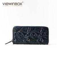 Viewinbox Cattle Leather Zipper Clutch Long Wallet Black Wave Leather Purse For Women Fashion Womens Wallets
