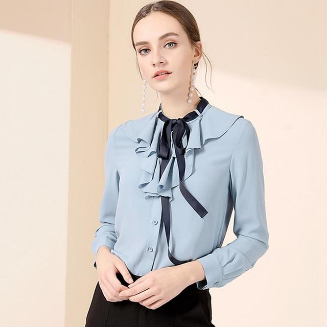 595c11cf5b 100% Mulheres Blusa de Seda Tecido Leve Sólidos Ruffles Lace-up Mangas  Compridas O