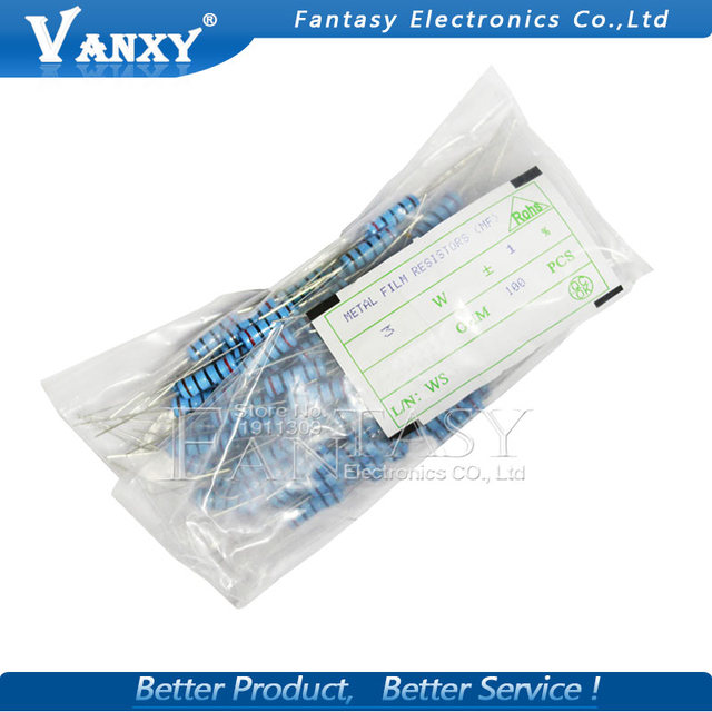 10pcs 3W Metal film resistor 1% 1R ~ 1M 1R 4.7R 10R 22R 33R 47R 1K 4.7K 10K 100K 1 4.7 10 22 33 47 4K7 ohm 1