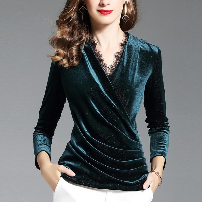 Spring Fall Fashion Women Lace Patchwork Blue Black Velour Tees Tops , Autumn Woman Slim Elegant Pleated V Neck Velvet T Shirt