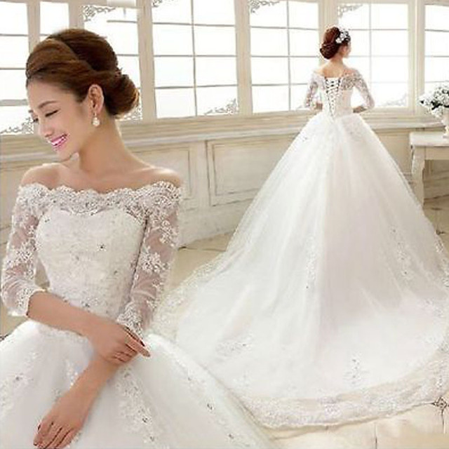 2016 New For Sleek Brides Dress Ball Gown Boat Neck Royal Train ...