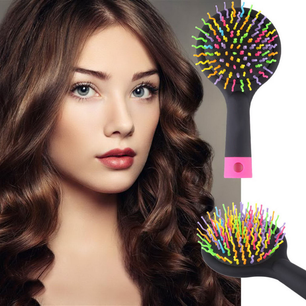 Straight perm products - New Fashion Massage Brush Rainbow Volume S Brush Hair Curl Magic Accessory Perm Wave Straight Beauty Comb With Mirror