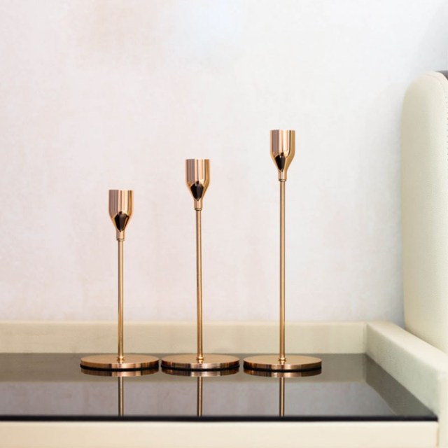 Modern Gold Metal Candle Holders