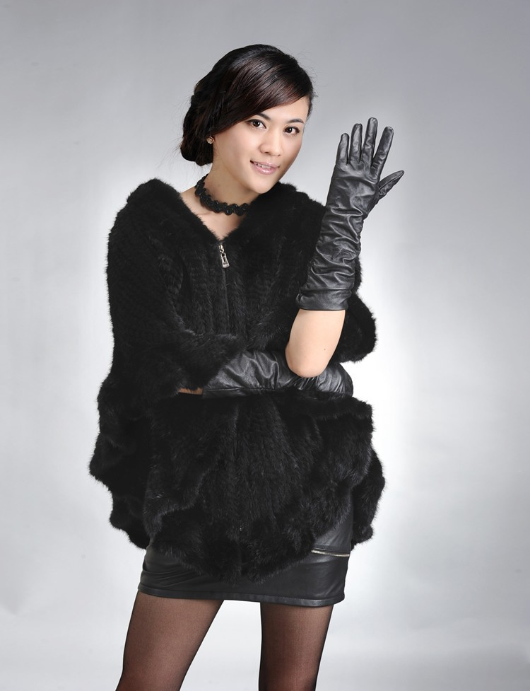 Factory Direct Genuine Mink Fur Shawl Women Natural Mink Fur Poncho With Hood Winter Knitted Mink Fur Jacket DL6191 (2)