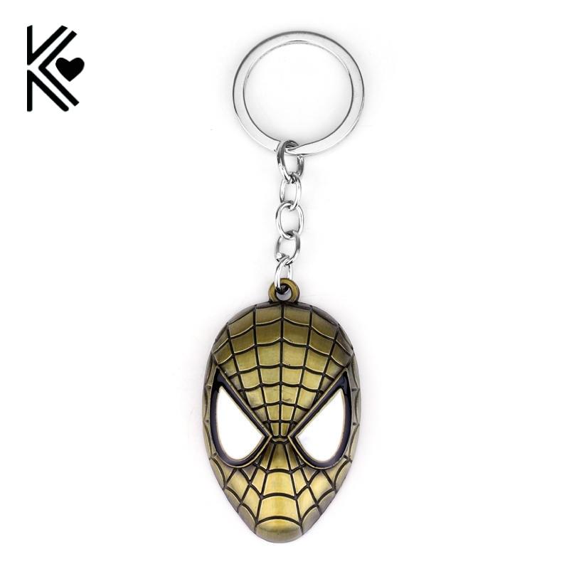 <font><b>Marvel</b></font> Series <font><b>SpiderMan</b></font> Mask <font><b>KeyChain</b></font> <font><b>Comics</b></font> Theme The Avengers Fashion Metal Pendant Men and Women Gift Key KeyRing Trinkets