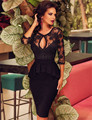 RA80206 New style half sleeve women sexy peplum dress plus size bodycon dress black lace O-neck knee-length summer dress 2016