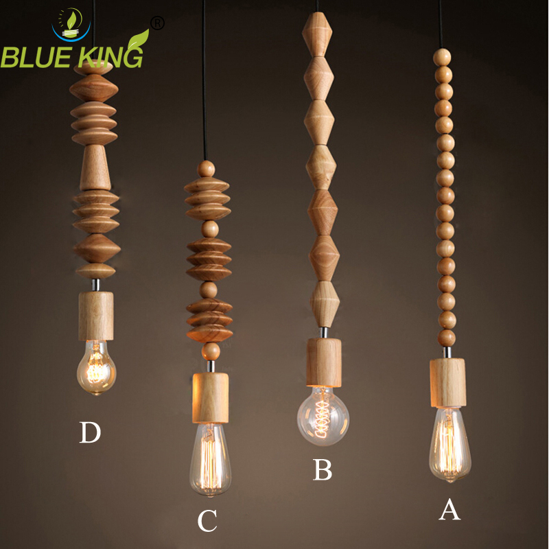 modern pendant light Retro style nature Oak wooden geometric beads pendant lamp string droplight hanging Light Fixture quadral aurum megan viii nature oak