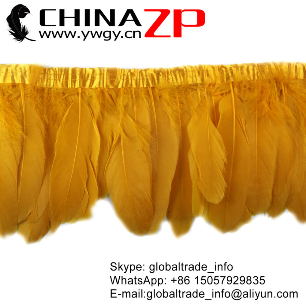 Leading Supplier CHINAZP Factory Wholesale Price for per Yard Beautiful Dyed Gold Goose Feather Fringe Trimming