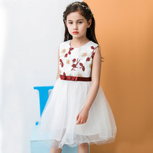купить Infant Lace pearl Formal Evening Wedding Princess baby Dress Flower Girls Children Clothing Kids Party For Girl school Clothes онлайн