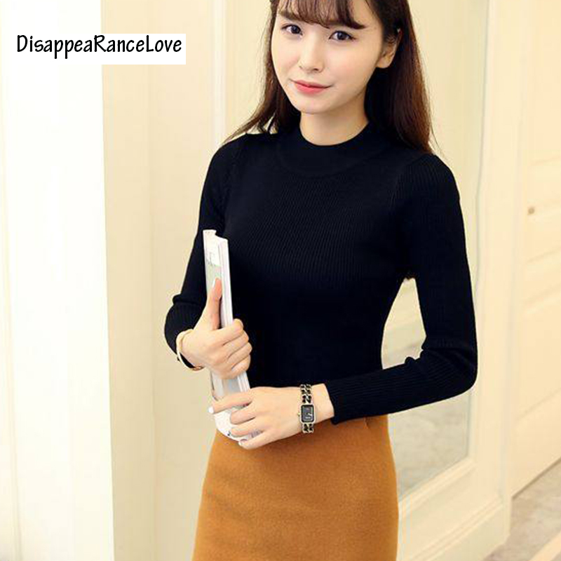 Disappearancelove 2018 short design turtleneck knitted basic shirt long-sleeve pullover outerwear slim sweater female