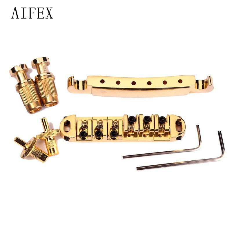 Free Products 2017 Gold Roller saddle Tune-O-Matic Electric Guitar Bridge Tailpiece Electric Guitar kaish lp tune o matic roller saddle bridge tailpiece stopbar set for lp gold