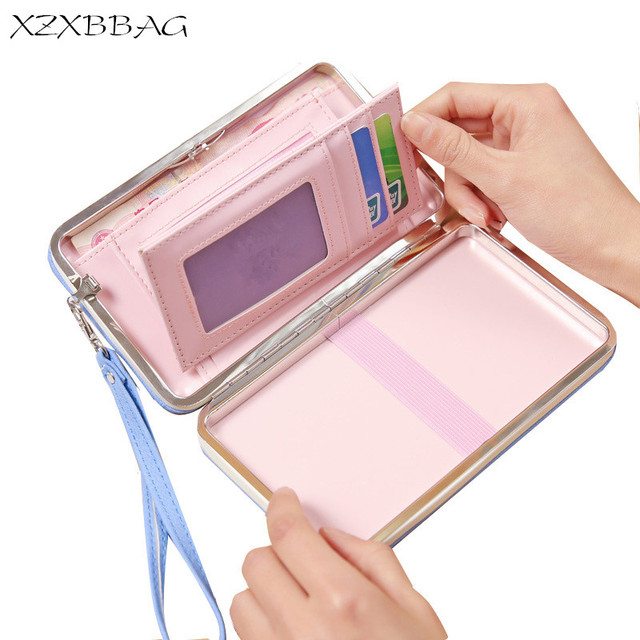 fa8c87f75c XZXBBAG Fashion Women Bowknot Long Wallets Big Capacity Female Card Holder  Cellphone Pocket Girl Kawaii Purse Money Bag Wristlet