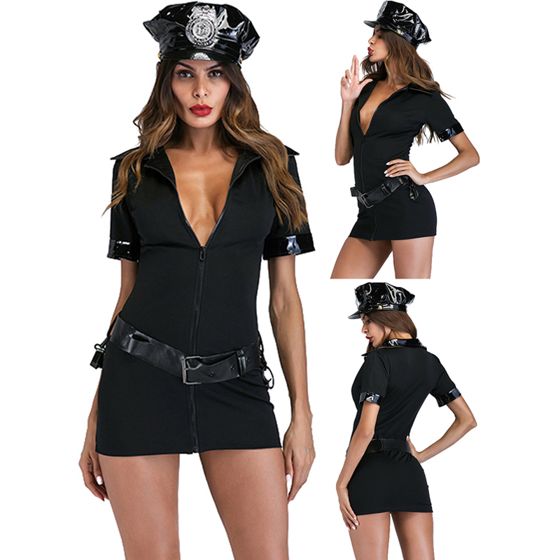 Adult Sexy Cop Officer Costume Leather Traffic Police Uniform Halloween Police Women Sexy Costumes Cosplay Ladies Fancy Dress