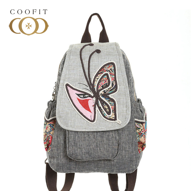 Chinese Style Birds Butterfly Flowers Pattern Backpack For Ladies Girls PU Leather and Cotton Linen Handmade School Bookbag Bags the hermitage birds and flowers