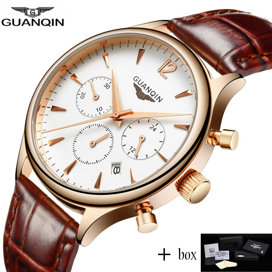 Guanqin Mens Watches Top Brand Luxury 2017 GUANQIN Men business Wrist watch Chronograph Leather Quartz watch