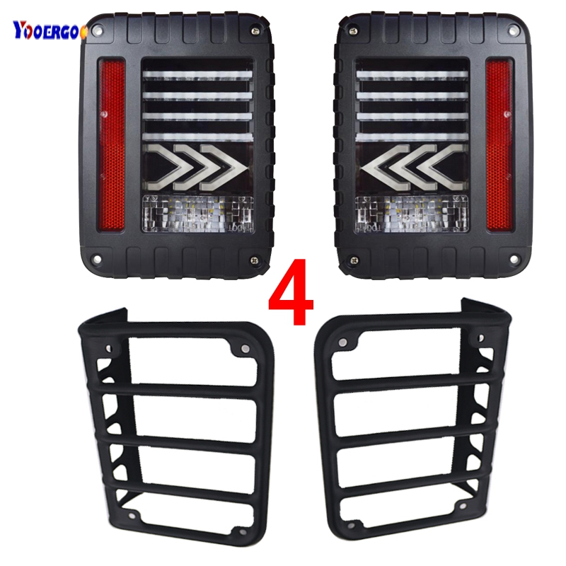 For Jeeps JK LED Rear Tail lights Brake turn signal Reverse Lamp and Chrome taillight Guards Covers for 07-16 Jeep Wrangler JK 4pcs black led front fender flares turn signal light car led side marker lamp for jeep wrangler jk 2007 2015 amber accessories