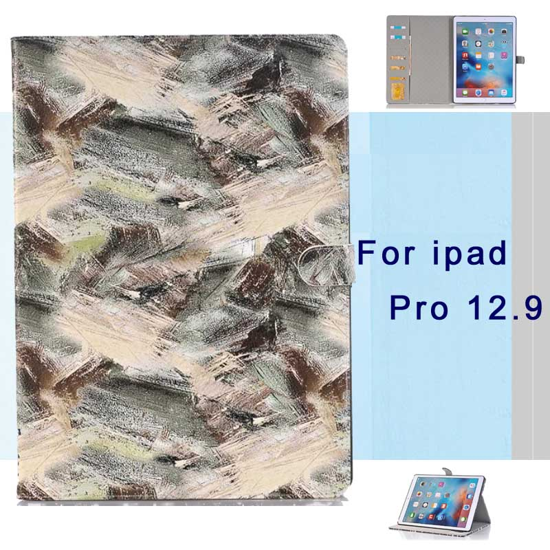 For Apple iPad Pro 12.9 Case PU Leather Smart Graffiti Shockproof Tablet Cases magnetic smart Cover For iPad Pro 12.9 inch 2015 surehin nice smart leather case for apple ipad pro 12 9 cover case sleeve fit 1 2g 2015 2017 year thin magnetic transparent back