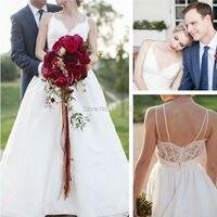 White Zipper Lace Appliques Wedding Dress 2019 Long Chiffon Vintage V Neck Wedding Gowns Online Shop China vestido de noiva