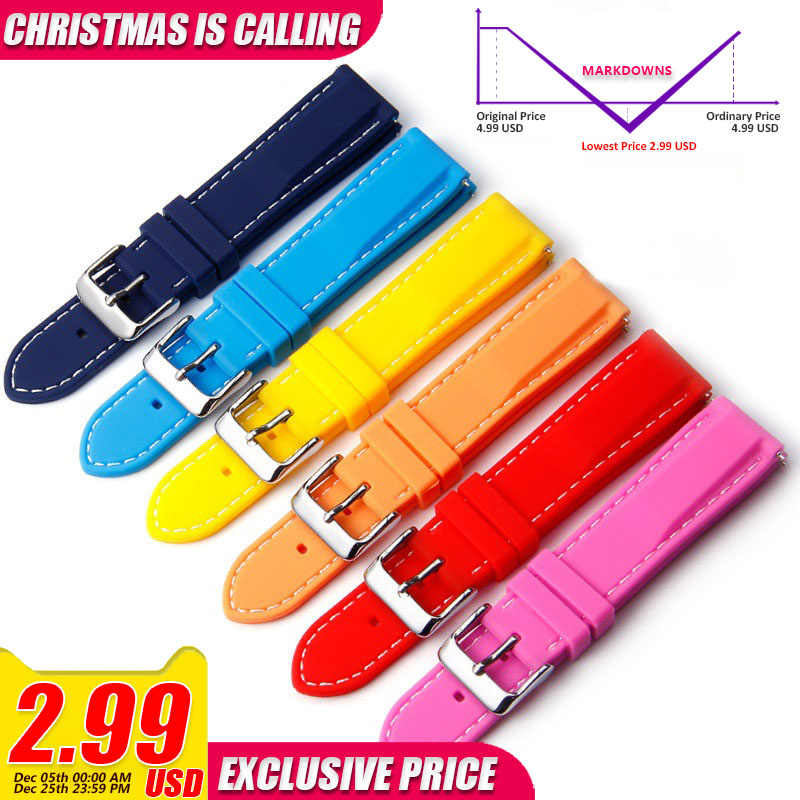 Silicone Watchbands 18mm 20mm 22mm Rubber Watch bands Strap For Hours Dive Sport Band Waterproof Strap on Watch Belt Watchstrap