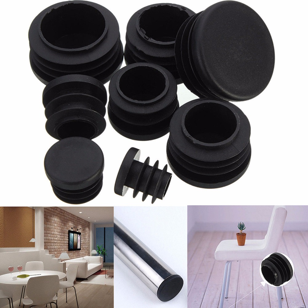 10Pcs Black Round Plastic Furniture Leg Plug Blanking End Caps Insert Plugs Bung For Round Pipe Tube 8 Sizes Wholesale