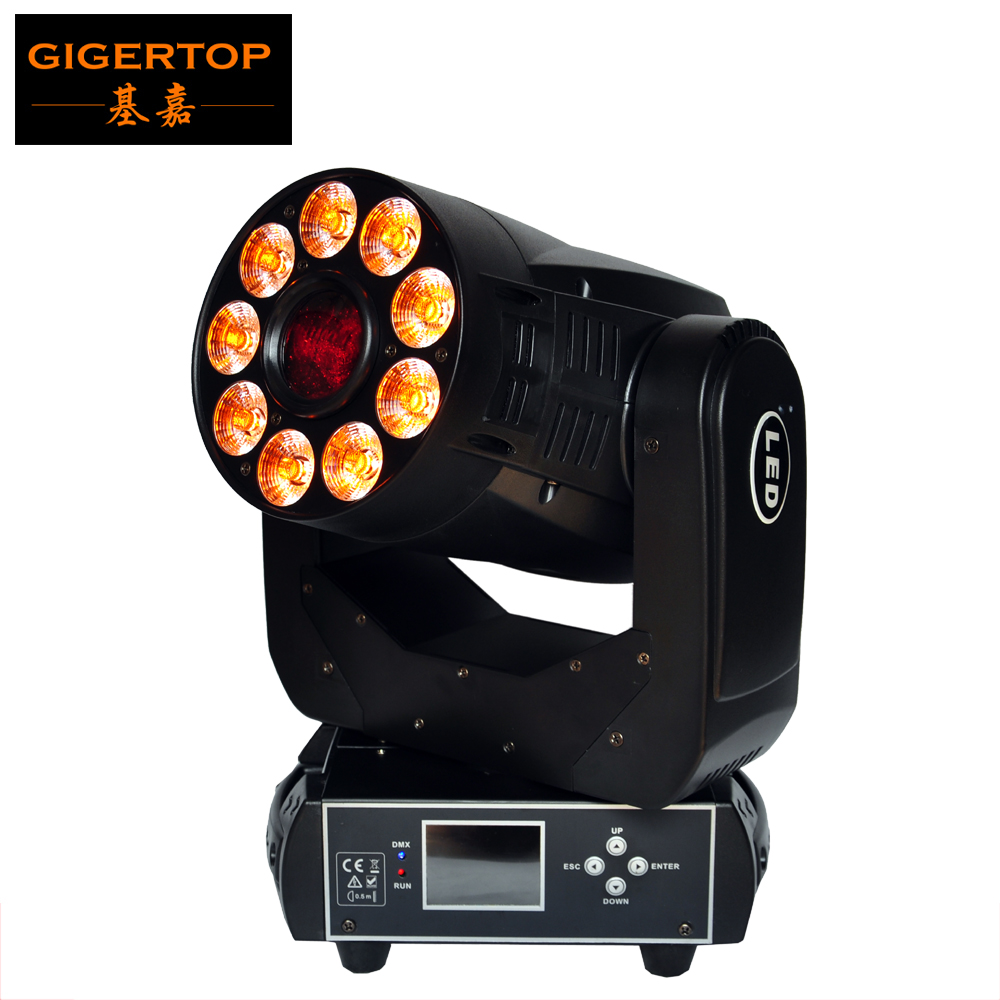 Gigertop TP-L6K2 200W Wash Gobo 2IN1 Led Moving Head Stage Light 16/23 Channels 1 X 75W White Beam + 9 X 12W RGBWA UV 6IN1 Wash