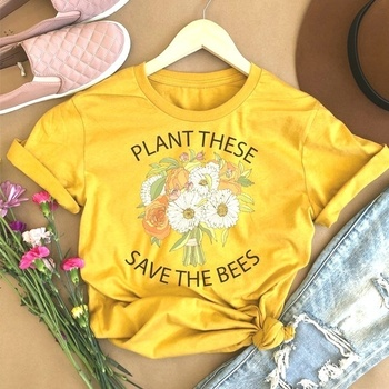 HAHAYULE-JBH Summer Women Causal Save Bees Plant Trees Clean Seas Tshirt Plant These Save The Bees Flower Version T Shirts 2