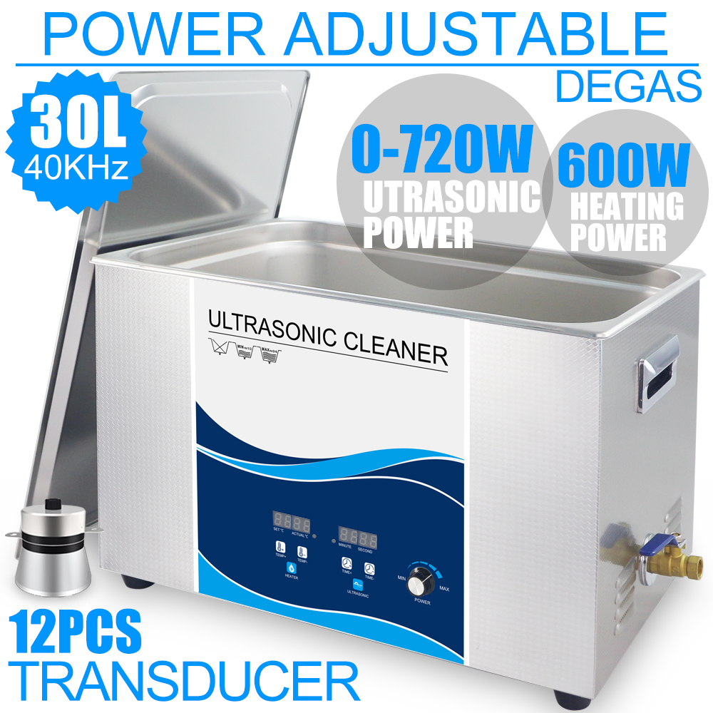900W 30L Bath Industrial Ultrasonic Cleaner Power Adjustment Degas Heater 40KHZ Hardware PCB Lab Dental Instruments Remove Oil 15l ultrasonic cleaner bath 540w 40khz 110v 220v degas heater lab optical instruments screws nut dental tool hardware bearings