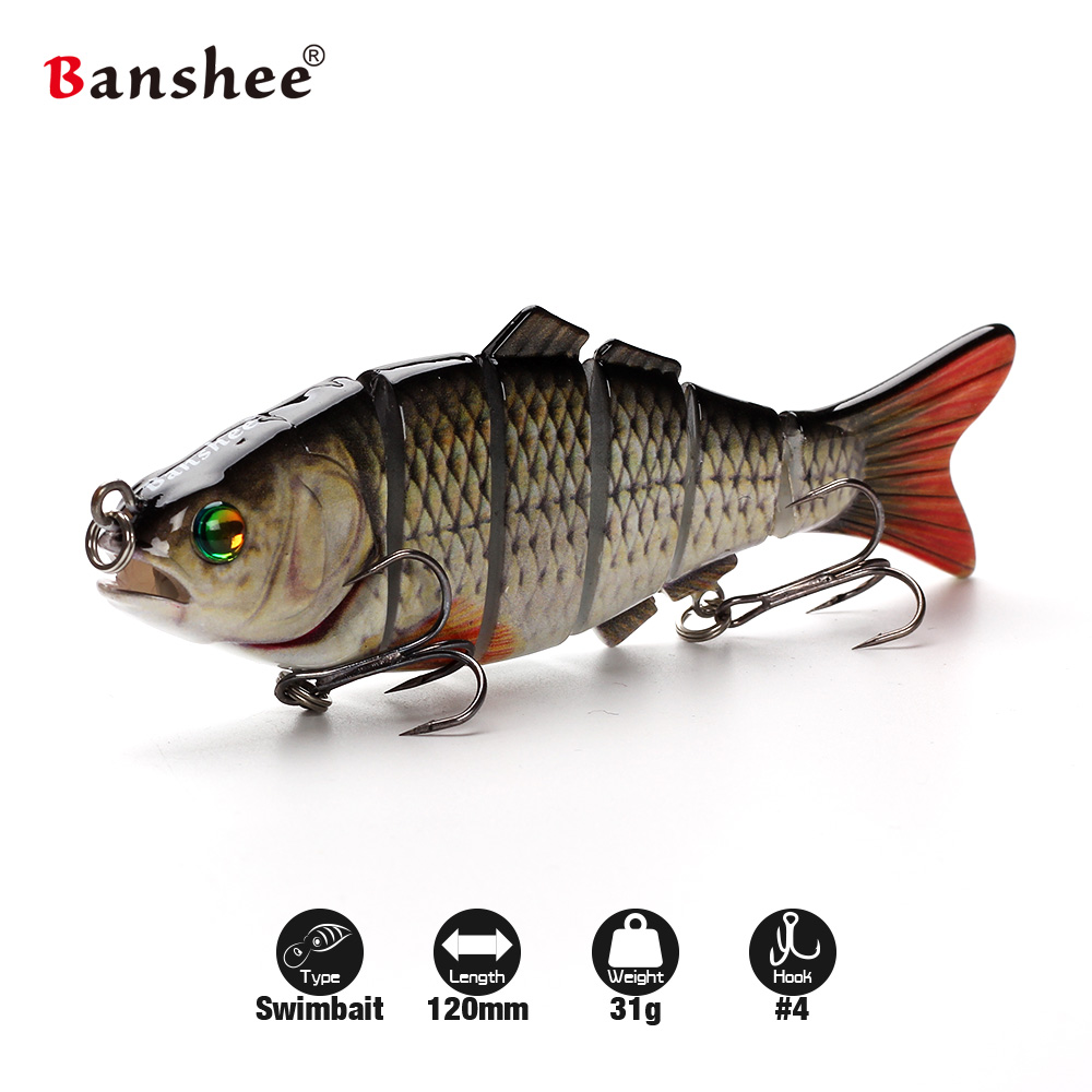 Banshee 120mm 31g VSJ06-5 Fishing Lure Isca 6 Segments Multi Jointed Natural Lifelike carp pike Swimbait Hard Artificial Bait mmlong 6 5 39g new pike fishing lure lifelike crankbait multi jointed swimbait realistice hard fish bait tackle pesca mml12b