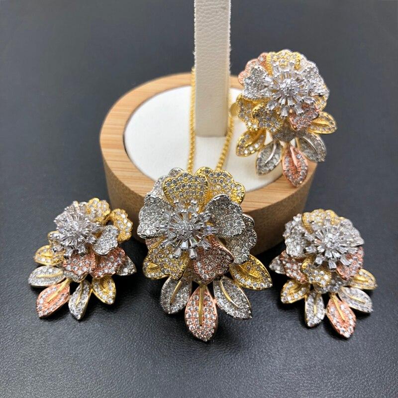 Lanyika parure de bijoux Gracieux Exquis Feuille Fleur Lourde Pleine Zircon collier plaqué avec Boucles D'oreilles et Bague De Mariage À La Mode Cadeaux