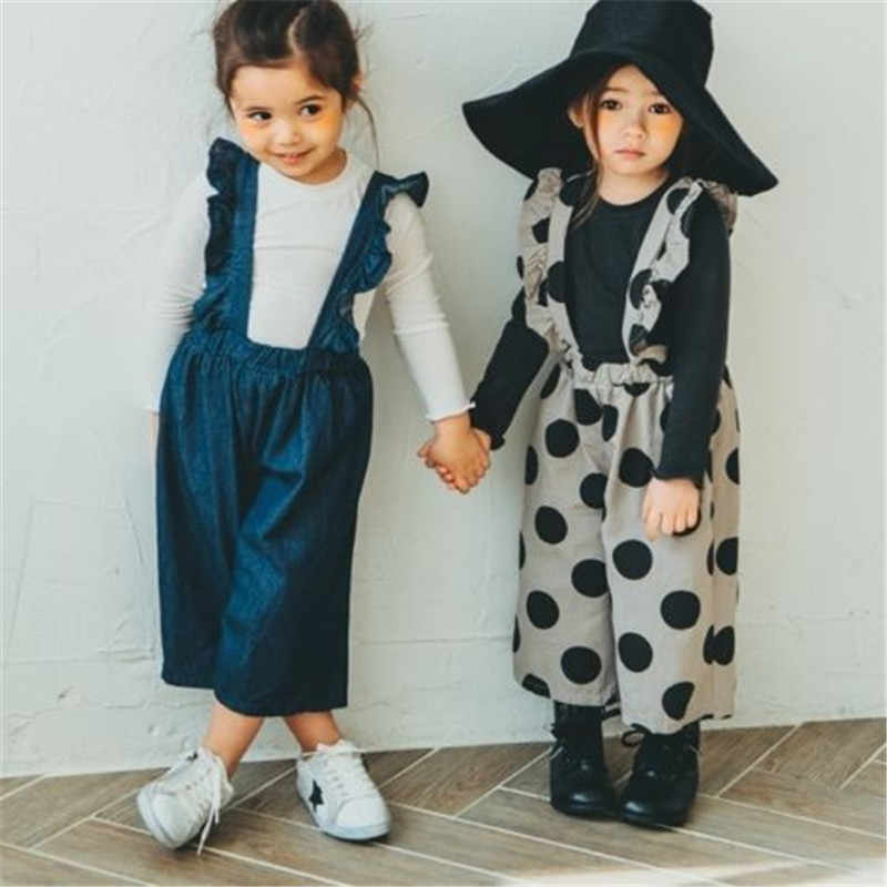 PUDCOCO ילדים בייבי בנות ינס סרבל לפרוע רצועת Romper מנוקדת סרבל תלבושות