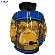KYKU 3d Hoodies Monkey Hoodie Men Graffiti Printed Animal Sweatshirt Art Hoody Anime Retro Print Long Sleeve