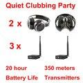 Discoteca silenciosa sistema completo negro plegable auriculares inalámbricos Silencioso Clubbing Party Bundle (2 Auriculares + 3 Transmisores)
