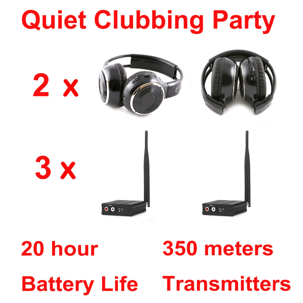 Silent Disco complete system black folding wireless headphones – Quiet Clubbing Party Bundle (2 Headphones + 3 Transmitters)