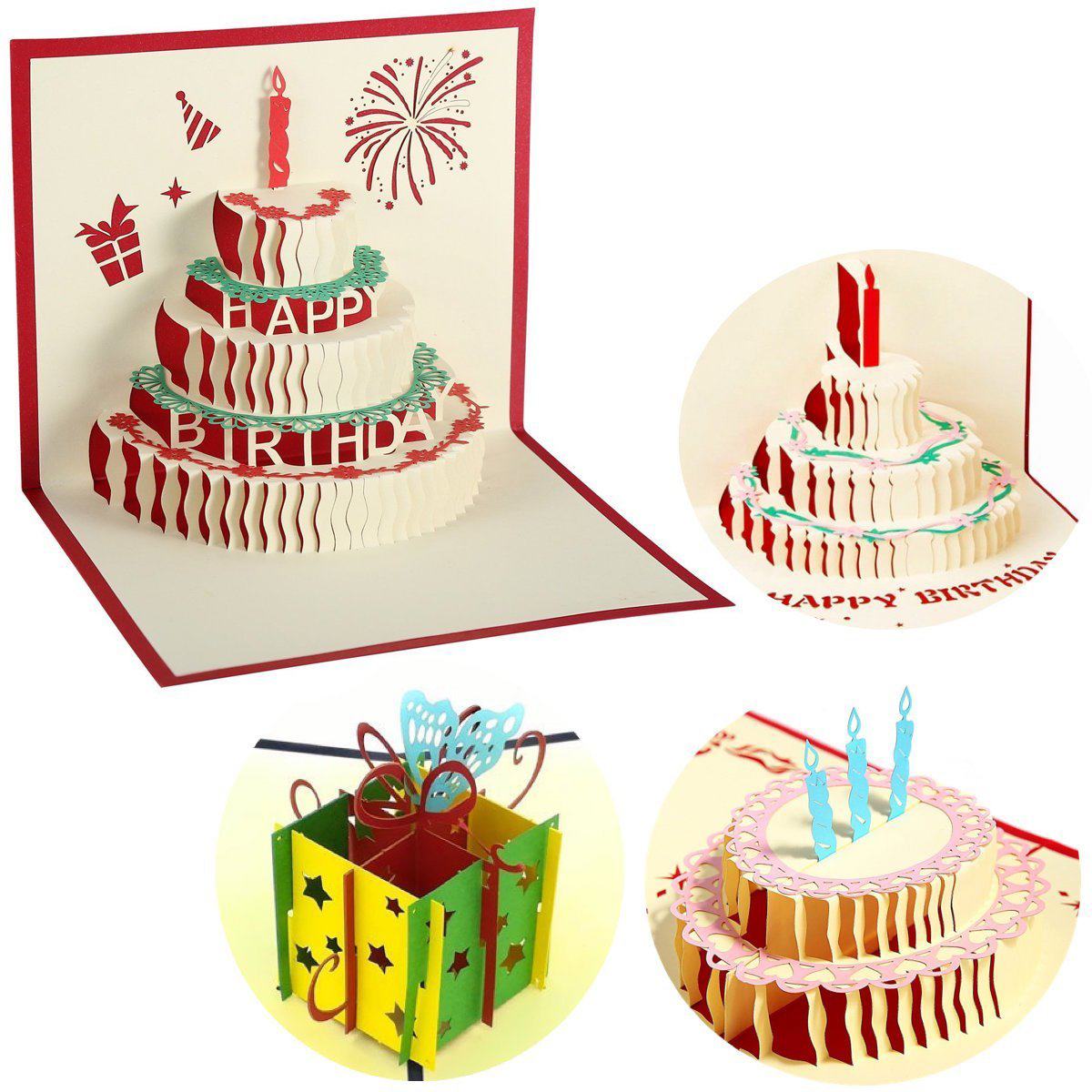 Aliexpress.com : Buy 4 Pcs 3D Pop Up Birthday Cards Happy