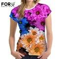 Forudesigns o-cuello de la camiseta para las mujeres de belleza flores de verano transpirable de manga corta t-shirt mujeres tops impreso camiseta para damas