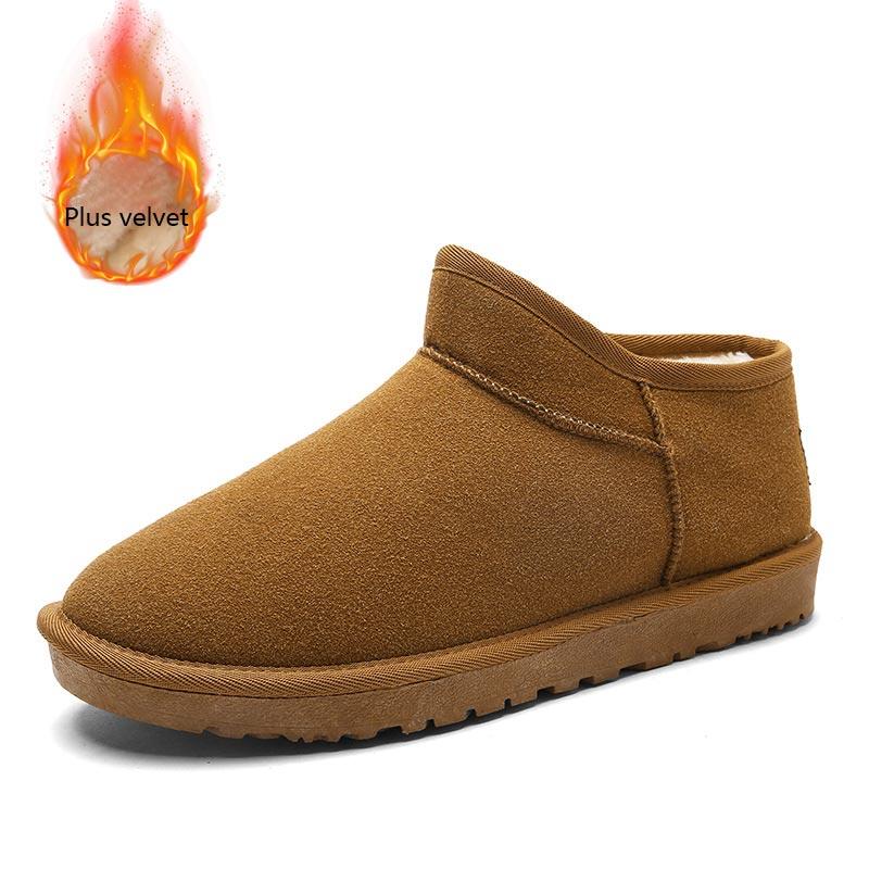 2018 Mode Neue Einfarbig Winter Schuhe Männer Plus Samt Warme Schuhe Männer Stiefel Casual Komfortable Flache Stiefel Männer Schuhe Entlastung Von Hitze Und Sonnenstich