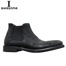 Handmade Genuine Leather Autumn Men Boots Ankle Retro Flats Casual cowhide Chelsea boots Botas Slip-on
