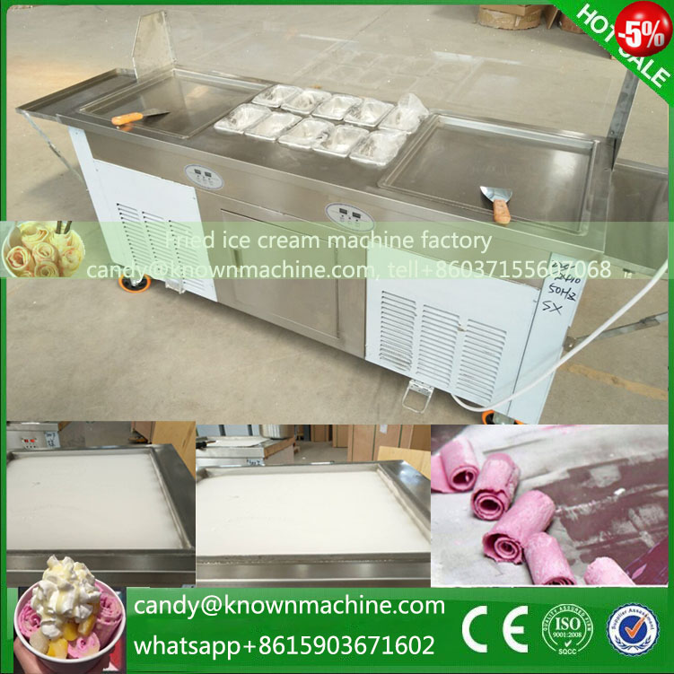 220V 110V fry ice cream machine double pan yogurt milk ice roll machine each pan work seperate 2016 new double round pan fry ice cream roll machine 45cm 2800w luxurious intelligent double pan milk roller with r410a