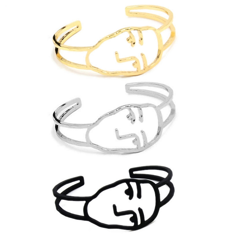 Creative Bangle Abstract Face Bracelet Charm Fashion Jewelry Open Geometry Gifts