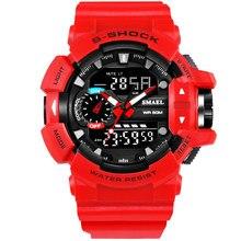 SMAEL Men Sports Military Black Gold Watch Men LED Quartz Analog Digital Gifts Waterproof Wrist Watch