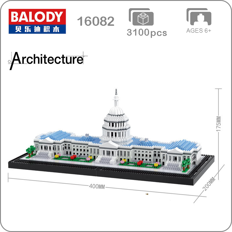 16082 World Famous Architecture Capitol Congress Model Micro Building Mini Diamond DIY Blocks 3D Assembly Toy Collection