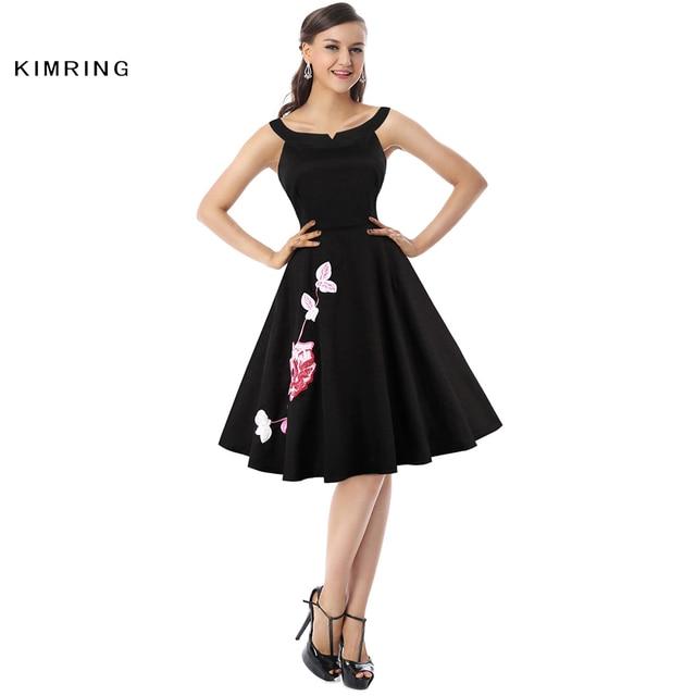 Kimring Sommer Vintage Plus Größe Kleid Hepburn Stil 1950 s 60 s Cocktails A-linie Rockabilly Robe Retro Swing Kleid für frauen