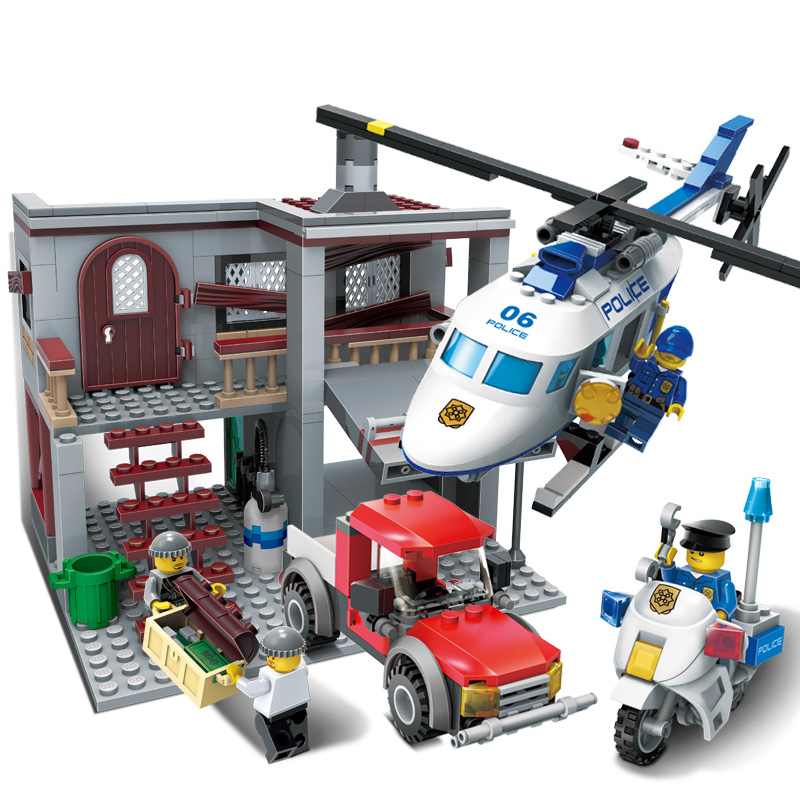 465Pcs City Police Station Compatible with Building Blocks Bricks  Brinquedos Helicopter boys Toys boys Birthday Gift Toy kazi 608pcs pirates armada flagship building blocks brinquedos caribbean warship sets the black pearl compatible with bricks