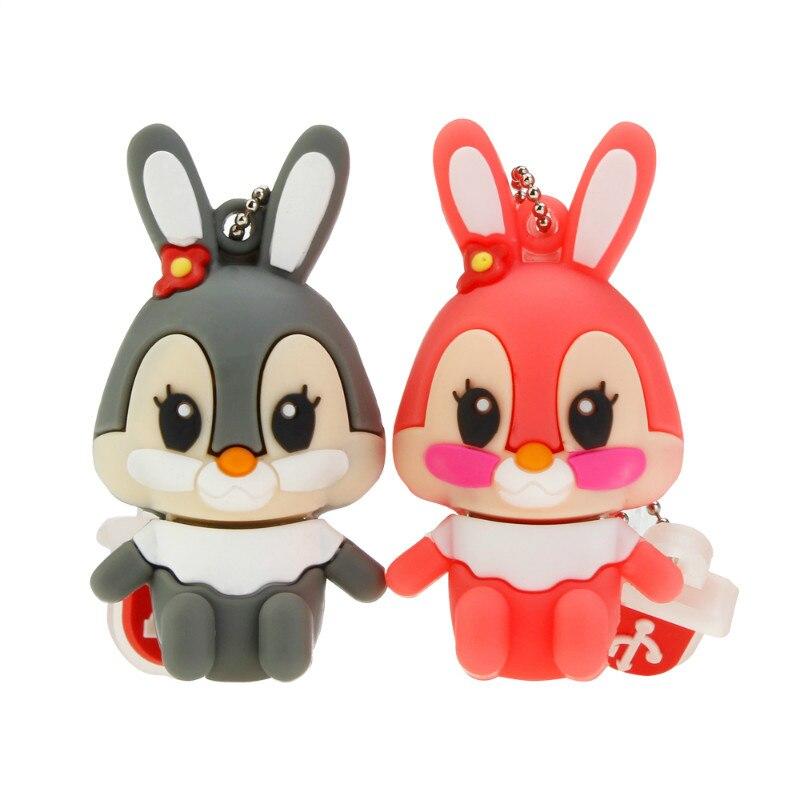 Usb Flash Drive Cute Cartoon Rabbit Pen Drive 4GB 8GB 16GB 32GB Flash Memory Stick High Speed Pendrive 64GB 128GB Thumbdrives-in USB Flash Drives from Computer & Office