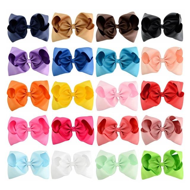 20 ילדים גדולים יח'\חבילה 8 Inch hairbows קליפים קשת סרט מבהיקי ילדה כיסוי הראש לילדים אבזרים לשיער