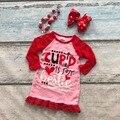 День святого валентина новорожденных девочек одежда детей одежда хлопок Осень-Зима оборками печати платье бутик кружева соответствующие аксессуары