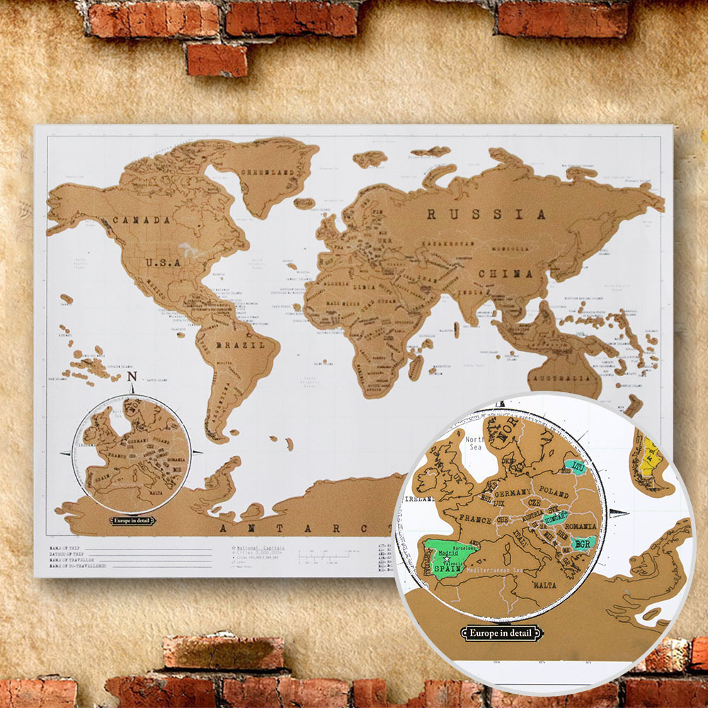 ROWBOE Scratch Map Office Decoration English Retro Map World Wall Edition Travel Map Can Scratch Vintage Poster