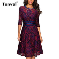 Tonval Floral Lace Red Dress Casual Women Elegant Office Summer Dress Robe Femme Vintage Swing Dresses